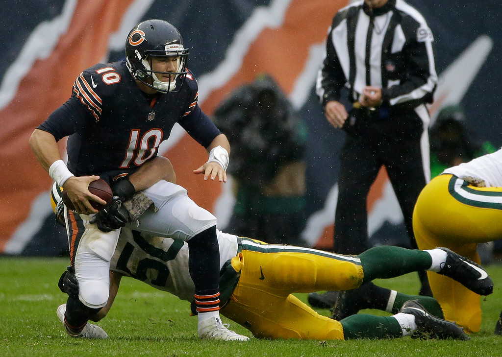 . Chicago Bears quarterback Mitchell Trubisky (10) is sacked by Green Bay Packers inside linebacker Blake Martinez (50) during the first half of an NFL football game, Sunday, Nov. 12, 2017, in Chicago. (AP Photo/Nam Y. Huh)