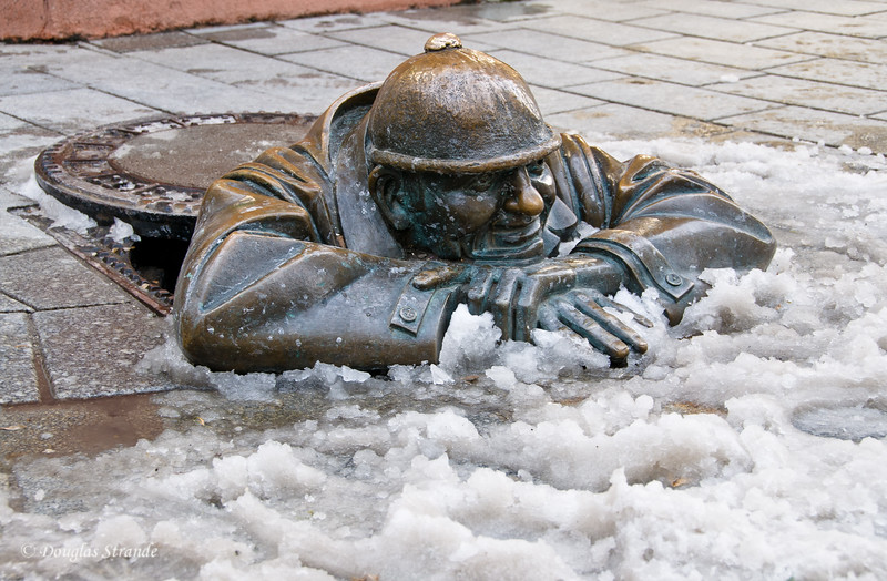 Man at Work sculpture in Bratislava....the snow is real.