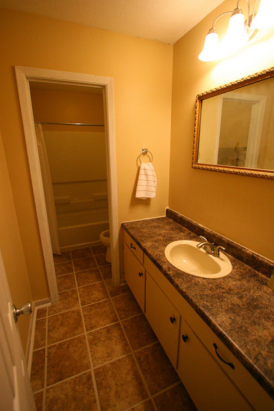 Completely new front bathroom. Spacious! New tub, toilet, sink and faucet! This bathroom is gorgeous and functional.