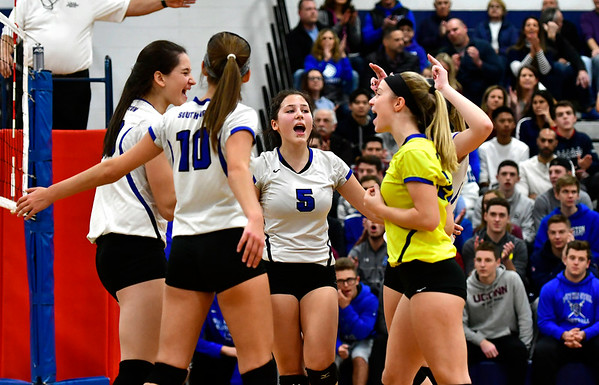 11/10/2018 Mike Orazzi   Staff Southington High School's Olivia Carpenter (5) during the Class LL Quarterfinal Girls Volleyball Tournament in Southington Saturday.