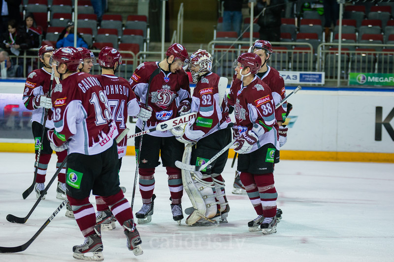 Players of Dinamo Riga celebrate the victory in the Nadezhda cup game over Donbass Donetsk with final score 4:3 in Arena Riga