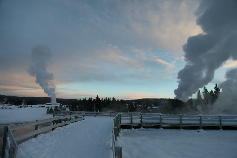 Around old faithful at sunset