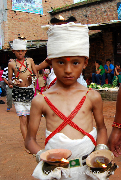 Boy at procession in Bhaktapur.