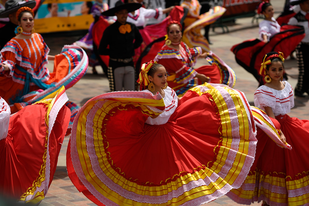 . DENVER, CO - MAY 8:  Mexican dancers perform during the Mariachi Festival Extravaganza y Folklorico dance during Cinco de Mayo celebrations at Civic Center Park on May 8, 2016 in Denver, Colorado. (Photo by Helen H. Richardson/The Denver Post)