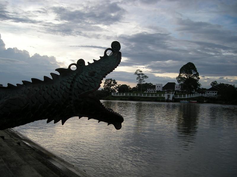 a dragon cannon protecting it's riverside in Kuching, Sarawak
