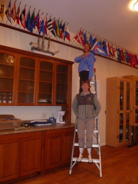 Sandra and Peggy installed burgee's.jpg