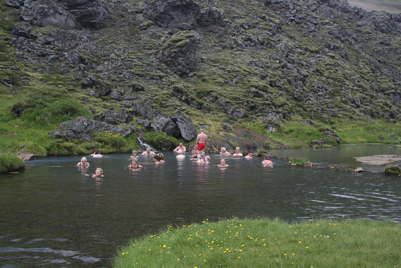 Hot springs near Lanmannalauger hut. Signs warned of duck paralysis and human itching, but Sheldon & Shane were spared.
