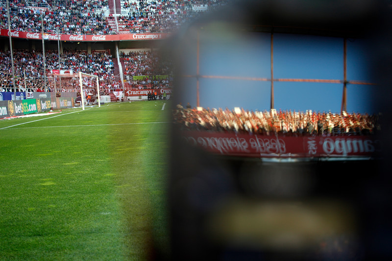 The stands reflected on a camera's LCD screen. Spanish Liga football game between Sevilla FC and Real Madrid CF that took place at Sanchez Pizjuan stadium, Seville, Spain, on 26 April 2009
