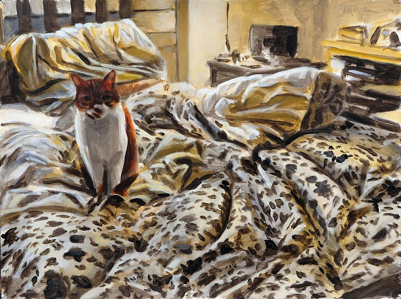 Cat on bed, acrylic on paper, 22 x 30 in, 2020