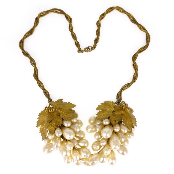 Vintage Mid Century French Rousselet Faux Pearl Gold Leaf Grape Necklace