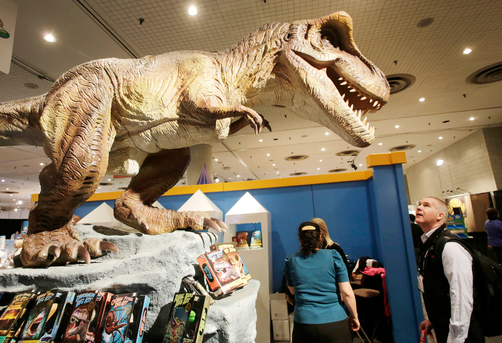 Description of . A man attending the American International Toy Fair looks at a dinosaur displayed by Discover With Dr. Cool, Monday, Feb. 11, 2013 in New York. The company, based in Ashland, Ore., makes earth science kits for kids. More than 1,000 international toy manufacturers and distributors market their products to the toy industry at the annual fair. (AP Photo/Mark Lennihan)