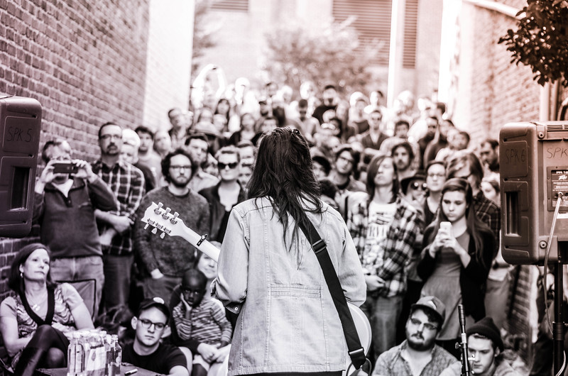 Lucy Dacus, performing in the alley, Deep Groove Vinyl