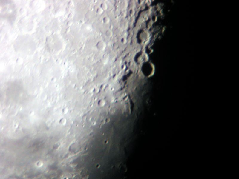 Photo taken of the Moon on Dec 1, 2004.  6 inch f-10 refracting telescope. Nikon 990 Camera .
