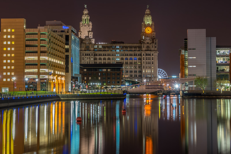 View of Liverpool  and the Royal Liver Building at night