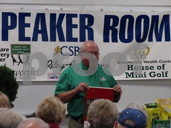 Jerry Kluver spoke to  a large crowd at the Messenger Home & Garden Expo on Saturday.