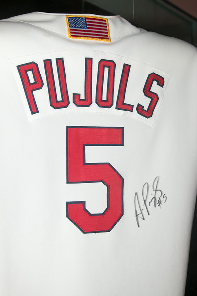 back of Albert Pujols 2001 rookie year Cardinals jersey -- A trip to the Baseball Hall of Fame, Cooperstown, NY, June 2014