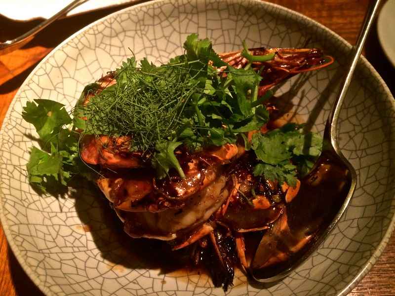 stir-fried tiger prawns with deep-fried shallots, chillies and garlic