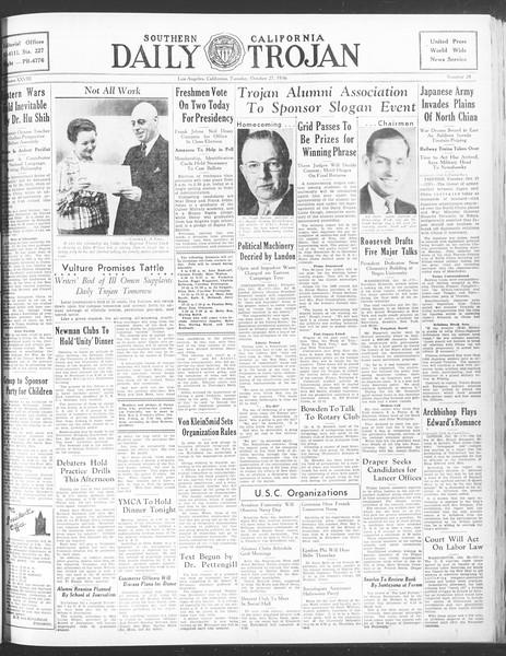 Daily Trojan, Vol. 28, No. 28, October 27, 1936