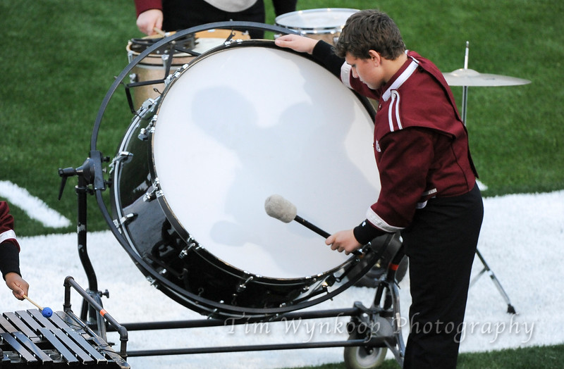 Stadium lights cast a shadow of a Phillipsburg High School bass drummer during a pre-game performance. Hunterdon Central football hosts Phillipsburg, Sept. 14, 2018.