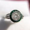 1.30ctw Old European Cut Diamond Emerald Target Ring 26