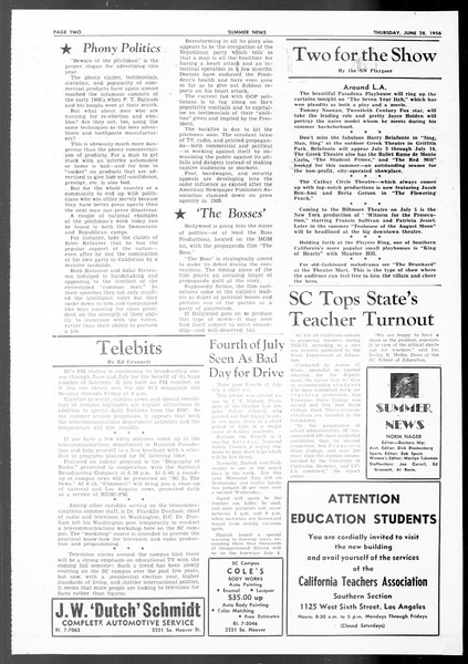 Summer News, Vol. 11, No. 2, June 28, 1956