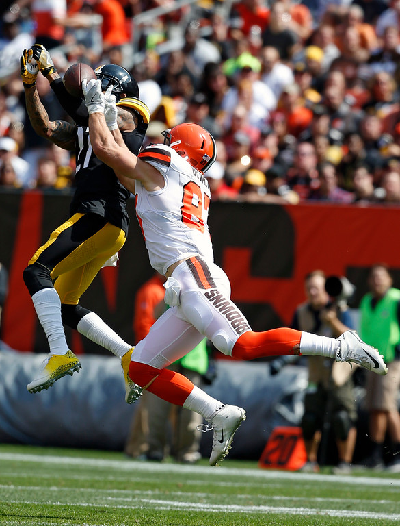 . Pittsburgh Steelers safety J.J. Willcox (27) breaks up a pass intended for Cleveland Browns tight end Seth DeValve (87) during the first half of an NFL football game, Sunday, Sept. 10, 2017, in Cleveland. (AP Photo/Ron Schwane)