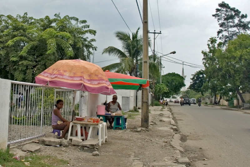 Local sidewalk vendors along the street at Dili, East Timor