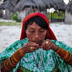 Kuna woman making art, San Blas Islands, Panama