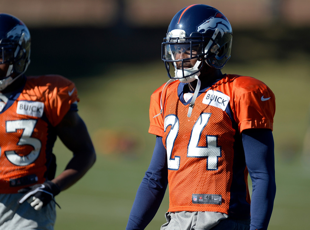 . Denver Broncos cornerback Champ Bailey (24) looks on during drills at practice November 20, 2013 at Dove Valley (Photo by John Leyba/The Denver Post)