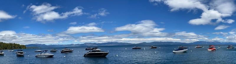 Panoramic View of Boats moored at Lake Tahoe's Sunnyside Marina