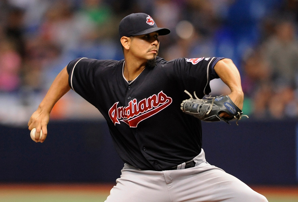 . Cleveland Indians starter Carlos Carrasco pitches against the Tampa Bay Rays during the seventh inning of a baseball game Friday, Aug. 11, 2017, in St. Petersburg, Fla. (AP Photo/Steve Nesius)