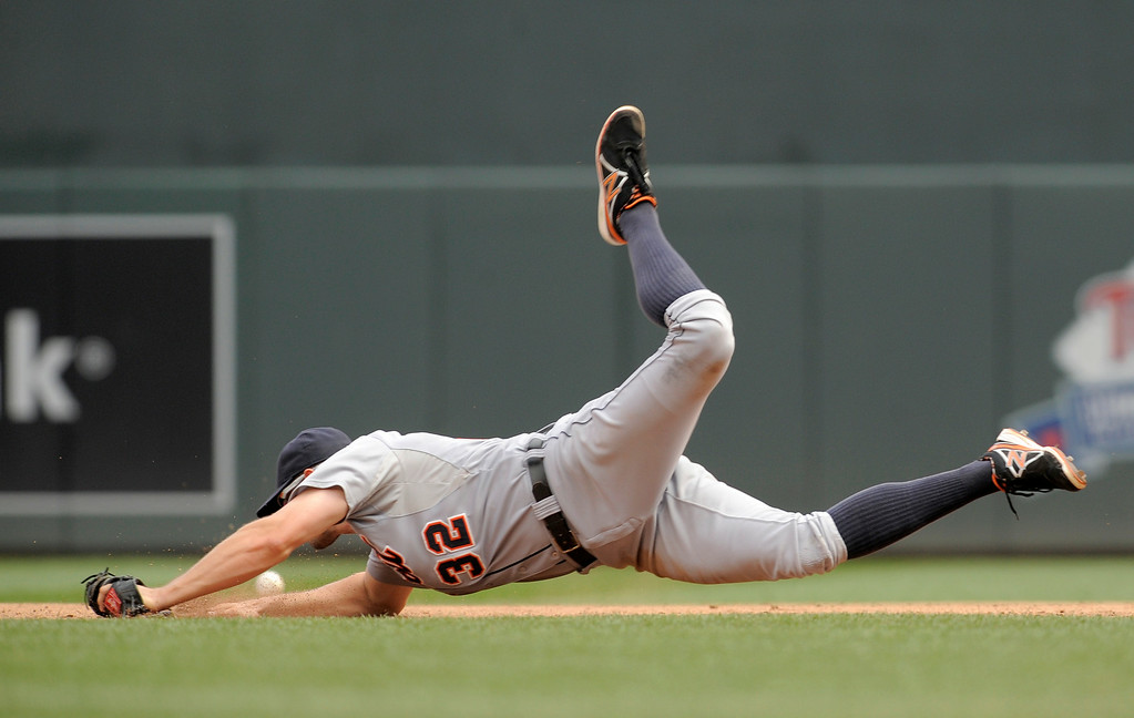 . Detroit Tigers� Don Kelly during a baseball game against the Minnesota Twins in Minneapolis, Sunday, Aug. 24, 2014. (AP Photo/Tom Olmscheid)