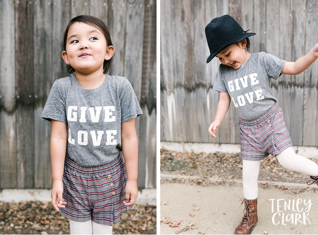Give Love. Playful kids fashion commercial brand shoot  for B+C California a kids t-shirt company in Bay Area by Tenley Clark Photography.