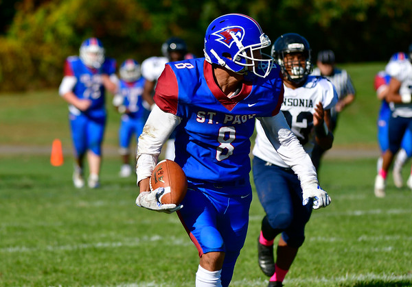 10/5/2019 Mike Orazzi | StaffrSt Paul's Max Peruta (8) during Saturday's football game with Ansonia in Bristol.
