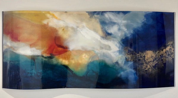 """Sapphire Dream-Hollack, 36""""x83"""" painting on CURVED acrylic with metal frame"""