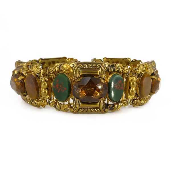 Antique Edwardian Czech Gold Tone Bloodstone Agate Glass Bracelet