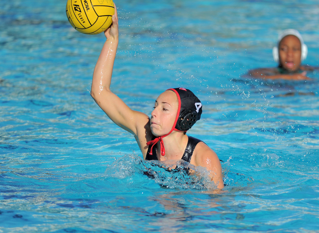 . 02-16-2012--(LANG Staff Photo by Sean Hiller)- Palos Verdes girls water polo defeated Upland 10-8 in Saturday\'s CIF Southern Section Division III quarterfinal at Palos Verdes High School. Ellie D\'Ambra scores on a penalty shot against Upland.