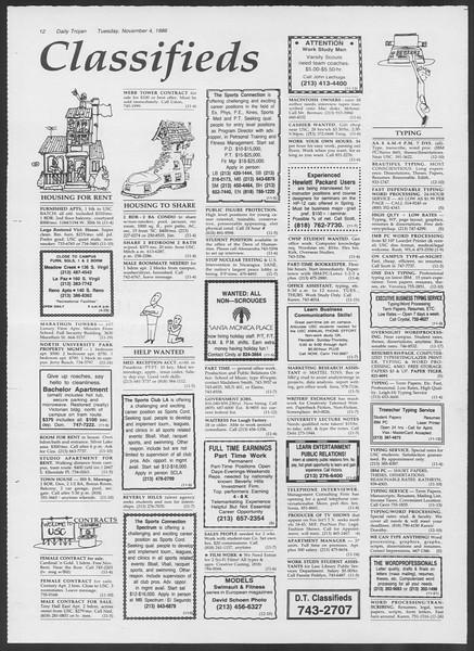Daily Trojan, Vol. 102, No. 45, November 04, 1986