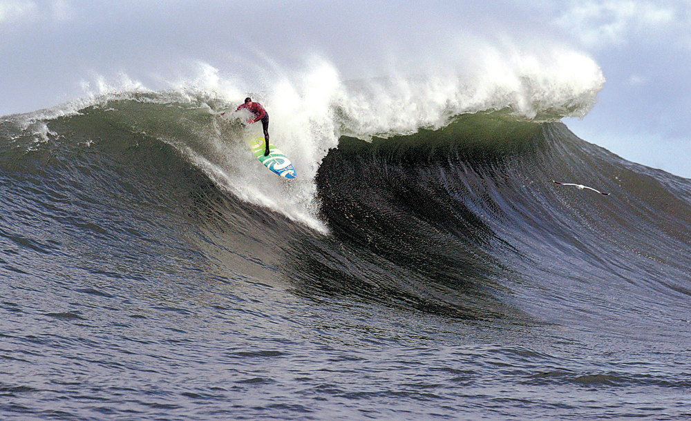 Description of . Doomed from the start of this takeoff, Zach Wormhoudt sets up the most spectacular wipe-out of the day during the first heat of the 2004 Mavericks contest.  (Dan Coyro/Sentinel)