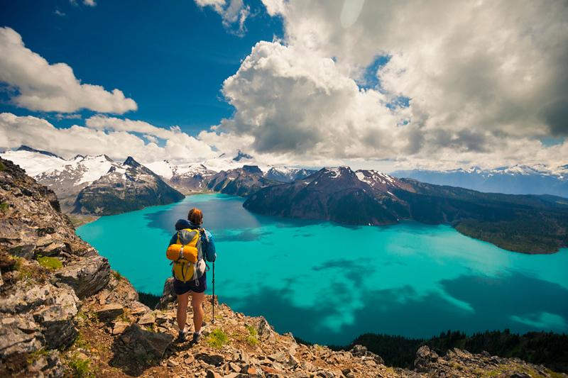 Looking down on Garibaldi Lake from the summit of Panorama Ridge in Garibaldi Provincial Park, British Columbia, Canada.