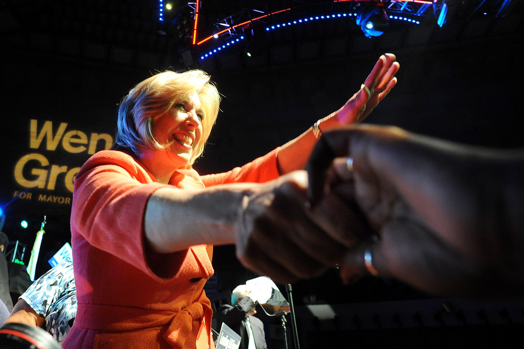 . Mayoral candidate Wendy Greuel shakes hands with supporters after speaking during her election night party at the Exchange in Los Angeles, CA May 21, 2013.(Andy Holzman/Staff Photographer)