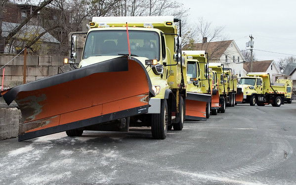 11/15/18 Wesley Bunnell | Staff New Britain Public Works trucks were being prepped and loaded with salt in anticipation of the upcoming winter storm schedule to hit New England Thursday evening into Friday. Trucks are shown lined up waiting for a payload to dump approximately 8 tons of salt per truck.