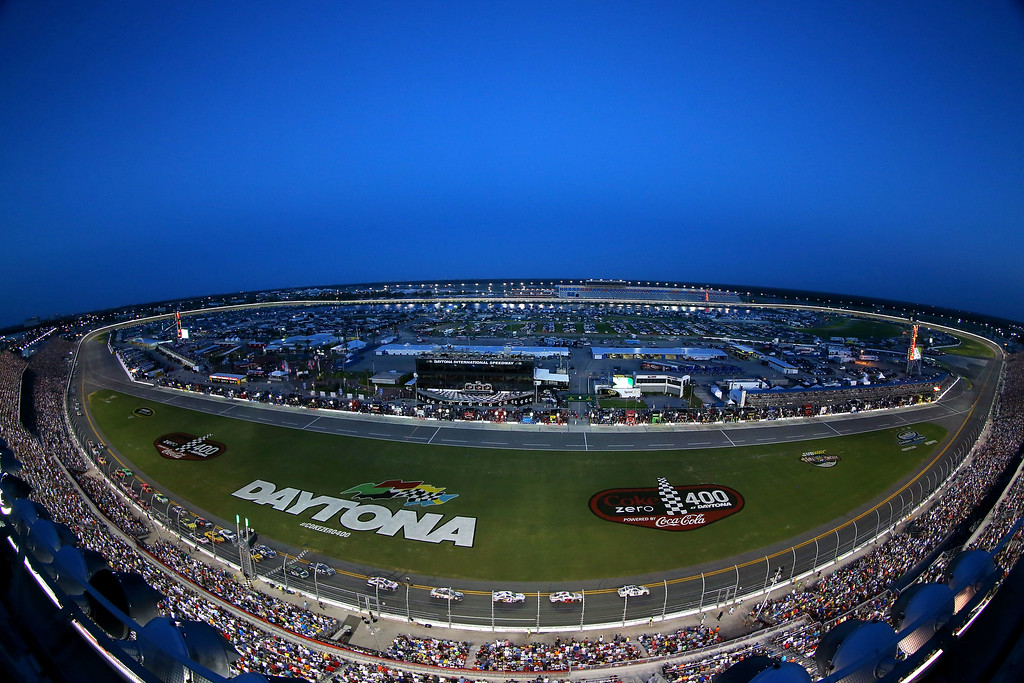 . DAYTONA BEACH, FL - JULY 06:  A general view of race action during the NASCAR Sprint Cup Series Coke Zero 400 at Daytona International Speedway on July 6, 2013 in Daytona Beach, Florida.  (Photo by Mike Ehrmann/Getty Images)