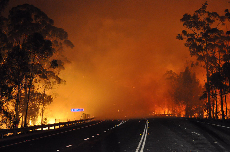 . This handout picture taken late on January 8, 2013 and provided by New South Wales Rural Fire Service (NSW Rural Fire Service) on January 9, 2013 shows trees burning and smoke billowing from a fire along the Princes Highway at Deans Gap in the Shoalhaven area in New South Wales. A drop in temperatures helped firefighters battling blazes across Australia on January 9 but up to 30 wildfires were still raging out of control, destroying a handful of homes and forcing people to flee.  AFP PHOTO / NSW Rural Fire Service