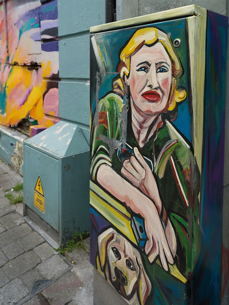 Painting on a box, Galway City, County Galway, Ireland