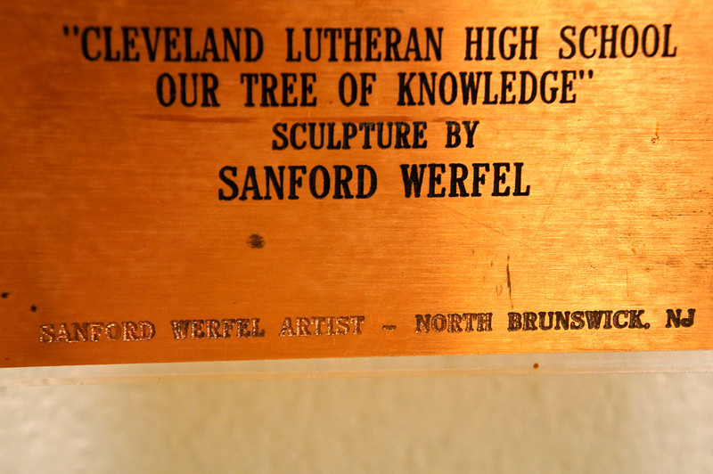 """""""Our Tree of Knowledge"""" sculpture at Lutheran West High School by Sanform Werfel of North Brunswick, N.J."""