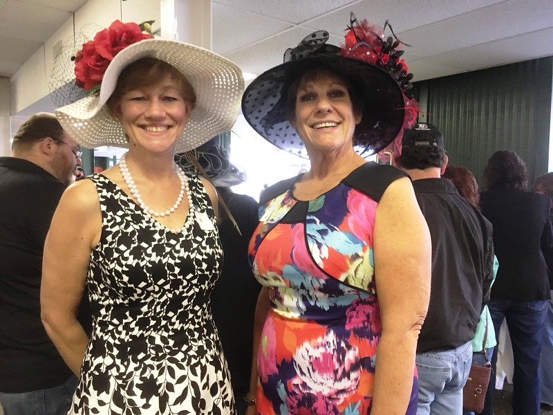 Diana and Lyndy from Oneida celebrated the Kentucky Derby at the Vernon Downs race track on Saturday, May 6, as both participated in the annual hat contest.