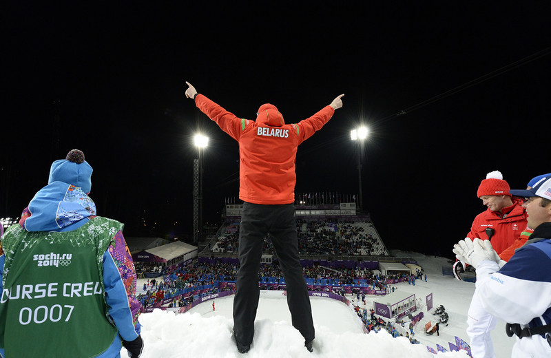 . Belarus aerials coaching staff celebrate in the Women\'s Freestyle Skiing Aerials finals at the Rosa Khutor Extreme Park during the Sochi Winter Olympics on February 14, 2014. Belarus\' Alla Tsuper won the Gold Medal. (FRANCK FIFE/AFP/Getty Images)