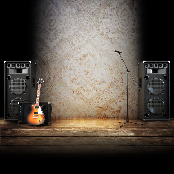 Music stage, Country themed background.