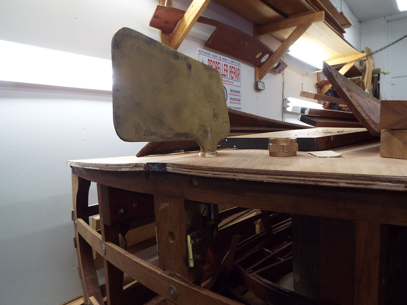 Outside view of the rudder installed.